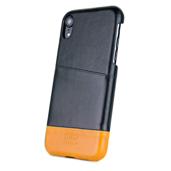 Alto Metro 皮革手機殼 - 渡鴉黑/焦糖棕(iPhone XR)