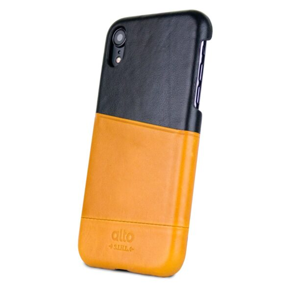 Alto Metro 皮革手機殼 - 焦糖棕/渡鴉黑(iPhone XR)