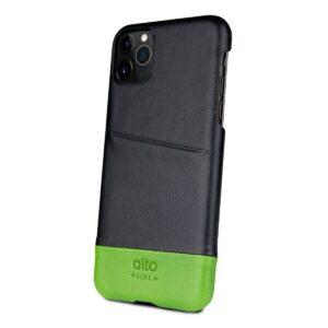 Alto Metro 皮革手機殼 - 渡鴉黑/萊姆綠(iPhone 11 Pro)