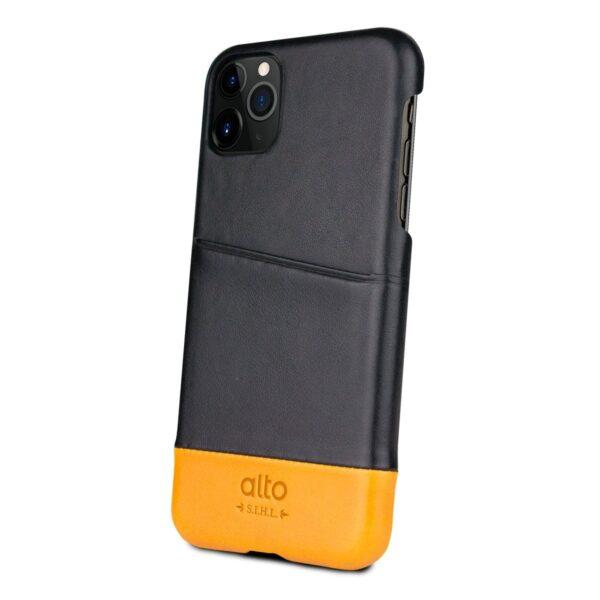 Alto Metro 皮革手機殼 - 渡鴉黑/焦糖棕(iPhone 11 Pro)