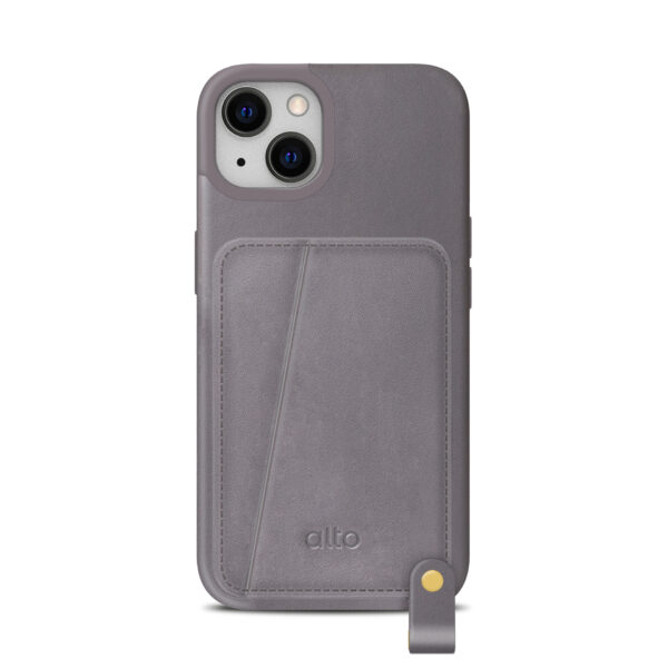 iPhone 13 Leather Lanyard Case - Gray