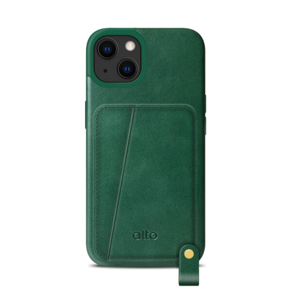 iPhone 13 Leather Lanyard Case - Green