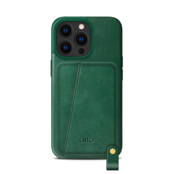 iPhone 13 / 13 Pro Max Leather Lanyard Case - Green