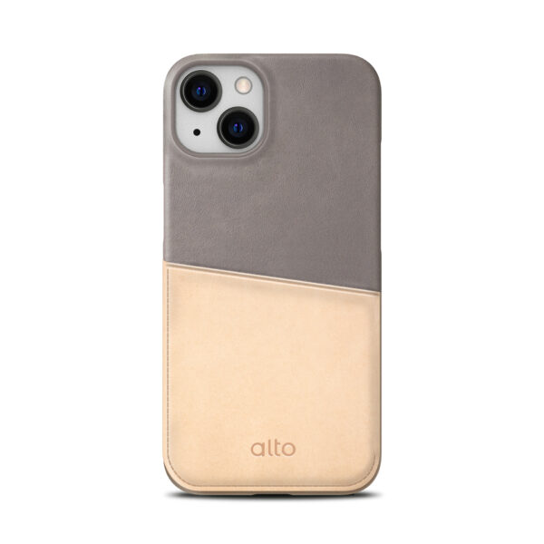 iPhone 13 Leather Wallet Case - Gray