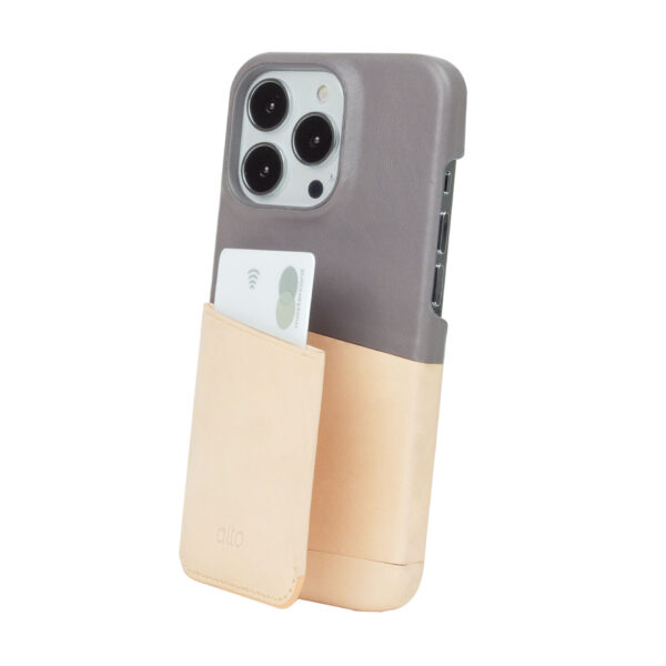 iPhone 13 Pro Max Leather Wallet Case - Gray / Nude