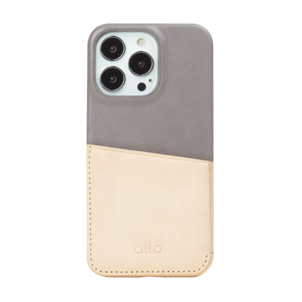 iPhone 13 Pro / Pro Max Leather Wallet Case - Gray / Nude
