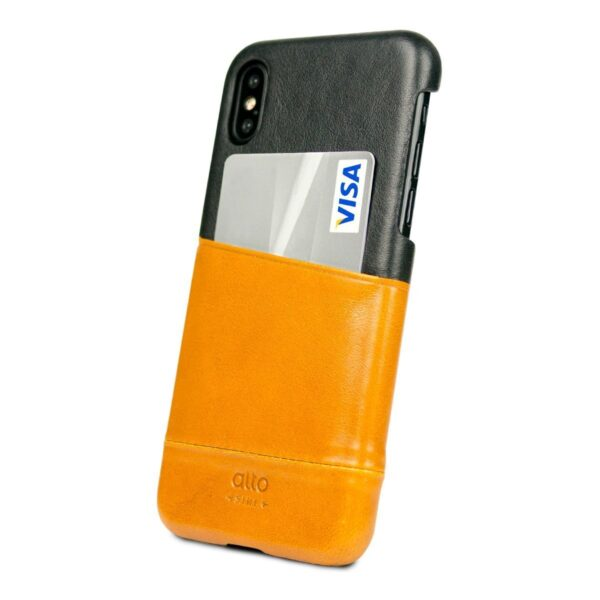 Alto Metro 皮革手機殼 - 焦糖棕/渡鴉黑(iPhone X / Xs)