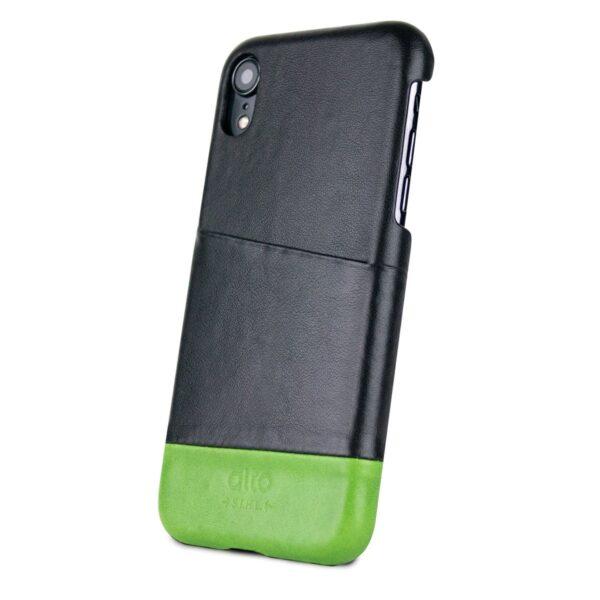 Alto Metro 皮革手機殼 - 渡鴉黑/萊姆綠(iPhone XR)
