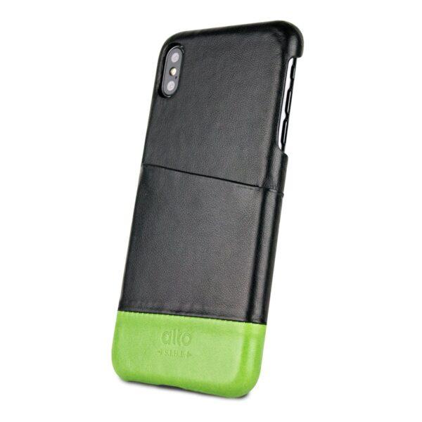 Alto Metro 皮革手機殼 - 渡鴉黑/萊姆綠(iPhone Xs Max)