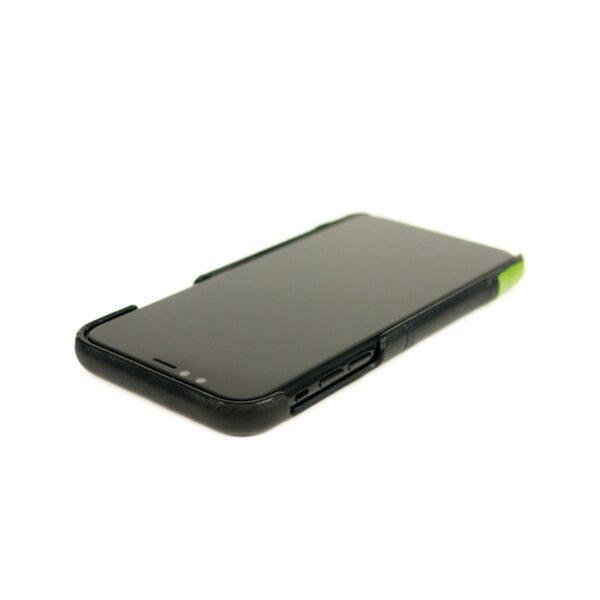 Alto Metro 皮革手機殼 - 渡鴉黑/萊姆綠(iPhone 11)