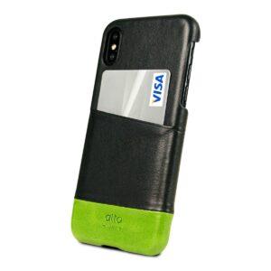 Alto Metro 皮革手機殼 - 渡鴉黑/萊姆綠(iPhone X / Xs)