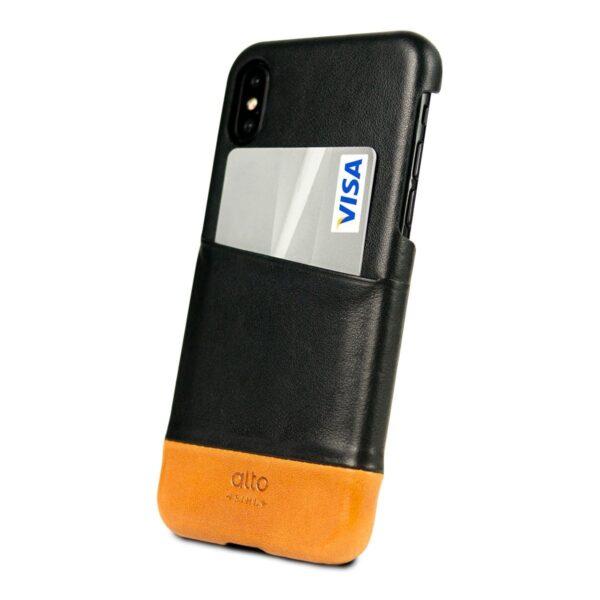 Alto Metro 皮革手機殼 - 渡鴉黑/焦糖棕(iPhone X / Xs)